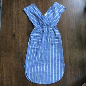 Blue and white stripe chambray dress with pockets